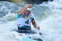 5th September 2021; Parc Olimpic del Segre, La Seu D'Urgell ICF Slalom World Cup, Men's Canoe Final;  Luka Bozic (SLO)