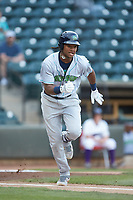 Oscar Gonzalez (39) of the Lynchburg Hillcats hustles down the first base line against the Winston-Salem Dash at BB&T Ballpark on May 9, 2019 in Winston-Salem, North Carolina. The Dash defeated the Hillcats 4-1. (Brian Westerholt/Four Seam Images)