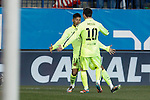 Barcelona´s Neymar Jr celebrates a goal with Leo Messi during Copa del Rey `Spanish King Cup´ soccer match at Vicente Calderon stadium in Madrid, Spain. January 28, 2015. (ALTERPHOTOS/Victor Blanco)