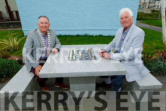 Cllr Mike Foley (Cathaoirleach, (Listowel Municipal District) and Noel Nash (Chairman Ballybunion Tidy Towns) playing chess on the 4 marble picnic/ chess tables in Ballybunion town park on Tuesday.