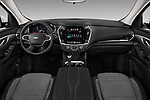 Stock photo of straight dashboard view of a 2018 Chevrolet Traverse 1LT 5 Door SUV