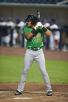 Dustin Harris (20) of the Down East Wood Ducks at bat against the Kannapolis Cannon Ballers at Atrium Health Ballpark on May 5, 2021 in Kannapolis, North Carolina. (Brian Westerholt/Four Seam Images)