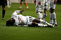 ATTENTION SPORTS PICTURE DESK<br /> Pictured: Jason Scotland of Swansea in agony on the ground after a hard tackle by a Plymouth player<br /> Re: Coca Cola Championship, Swansea City FC v Plymouth Argyle at the Liberty Stadium, Swansea, south Wales. 10 March 2009.<br /> Picture by D Legakis Photography / Athena Picture Agency, Swansea 07815441513