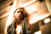 Vanessa Marion models outside a abandoned factory in Niagara Falls, New York.