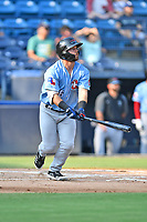 Hickory Crawdads Trey Hair (6) runs to first base during a game against the Asheville Tourists on July 21, 2021 at McCormick Field in Asheville, NC. (Tony Farlow/Four Seam Images)