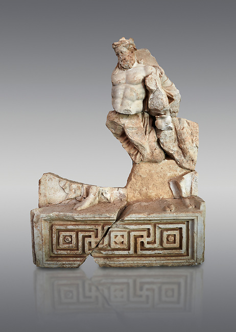 Roman Sebasteion relief  sculpture of Herakles or Hercules Drunk Aphrodisias Museum, Aphrodisias, Turkey. <br /> <br /> Herakles or Hercules staggers along drunk, supported by a small satyr from the entourage of Dionysus. He is wearing the head ribbon of a drinking party, where he has been in a drinking contest with Dionysus. The wine god has conquered even the mighty hero of the Twelve Labours.