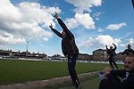 Lowestoft Town 2 Barrow 3, 25/04/2015. Crown Meadow, Conference North. Barrow make the six-hour trip to Suffolk needing a win to secure the title. Retiring Lowestoft Town legend Micky Chapman celebrates his sides second goal during his last ever match in charge. Photo by Simon Gill.