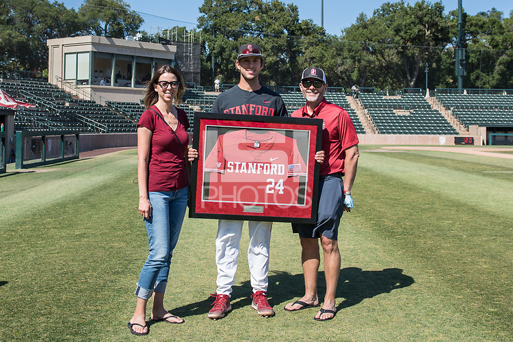 STANFORD, CA - MAY 29: Nick Brueser and family after a game between Oregon State University and Stanford Baseball at Sunken Diamond on May 29, 2021 in Stanford, California.