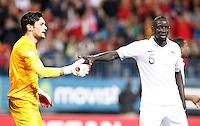 France's national team Hugo Lloris and Mamadou Sakho during match. October 16, 2012. (ALTERPHOTOS/Alvaro Hernandez) /NORTEPhoto