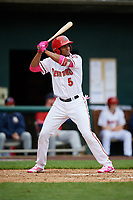 Harrisburg Senators third baseman Kelvin Gutierrez (5) at bat during the first game of a doubleheader against the New Hampshire Fisher Cats on May 13, 2018 at FNB Field in Harrisburg, Pennsylvania.  New Hampshire defeated Harrisburg 6-1.  (Mike Janes/Four Seam Images)