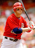 11 June 2006: Robert Fick, catcher for the Washington Nationals, prepares for a plate appearance against the Philadelphia Phillies at RFK Stadium, in Washington, DC. The Nationals shut out the visiting Phillies 6-0 to take the series three games to one...Mandatory Photo Credit: Ed Wolfstein Photo..