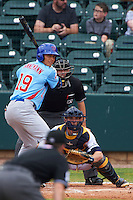 Tennessee Smokies outfielder Jacob Hannemann (19) at bat in front of catcher Justin O'Conner and umpire Alex Ransom during a game against the Montgomery Biscuits on May 25, 2015 at Riverwalk Stadium in Montgomery, Alabama.  Tennessee defeated Montgomery 6-3 as the game was called after eight innings due to rain.  (Mike Janes/Four Seam Images)