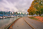 The Skyline of downtown Vancouver, BC is seen from Stanley Park.  In urban Stanley Park, the promenade takes walkers, bikers, and bladers past the downtown skyline and lush natural gardens.