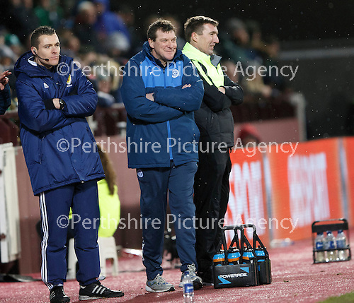Hibs v St Johnstone...30.01.16   Utilita Scottish League Cup Semi-Final, Tynecastle..<br /> Tommy Wright and Alan Stubbs have a laugh<br /> Picture by Graeme Hart.<br /> Copyright Perthshire Picture Agency<br /> Tel: 01738 623350  Mobile: 07990 594431