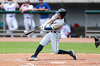 Montgomery Biscuits center fielder Michael Smith (1) at bat against the Tennessee Smokies on May 9, 2021, at Smokies Stadium in Kodak, Tennessee. (Danny Parker/Four Seam Images)