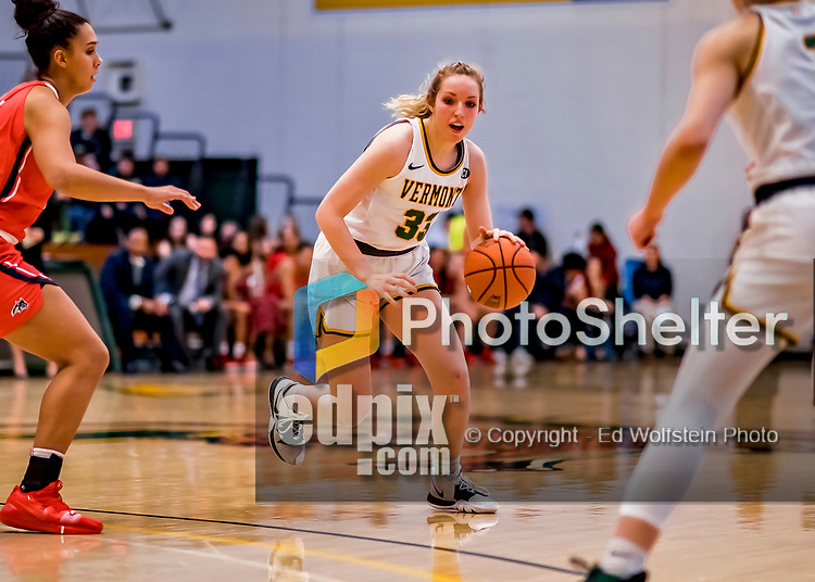 19 February 2020: University of Vermont Catamount Forward Delaney Richason, a Freshman from Zionsville, IN, in second-half action against the Stony Brook Seawolves at Patrick Gymnasium in Burlington, Vermont. The Lady Seawolves edged out the Lady Catamounts 72-68 in America East Women's Basketball. Mandatory Credit: Ed Wolfstein Photo *** RAW (NEF) Image File Available ***