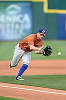 Durham Bulls third baseman Robby Price (6) fields a ground ball during a game against the Buffalo Bisons on July 10, 2014 at Coca-Cola Field in Buffalo, New  York.  Durham defeated Buffalo 3-2.  (Mike Janes/Four Seam Images)