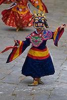 Paro Festival, Bhutan..Durda Chham, dance of the Lord of cremation and the dance of wrathful deities.