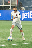 FOXBOROUGH, MA - NOVEMBER 1: Junior Moreno #5 of DC United during a game between D.C. United and New England Revolution at Gillette Stadium on November 1, 2020 in Foxborough, Massachusetts.