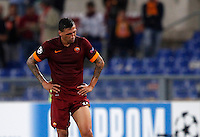 Calcio, Champions League, Gruppo E: Roma vs Bayern Monaco. Roma, stadio Olimpico, 21 ottobre 2014.<br /> Roma's Jose' Holebas reacts at the end of the Group E Champions League football match between AS Roma and Bayern at Rome's Olympic stadium, 21 October 2014. Bayern won 7-1.<br /> UPDATE IMAGES PRESS/Isabella Bonotto