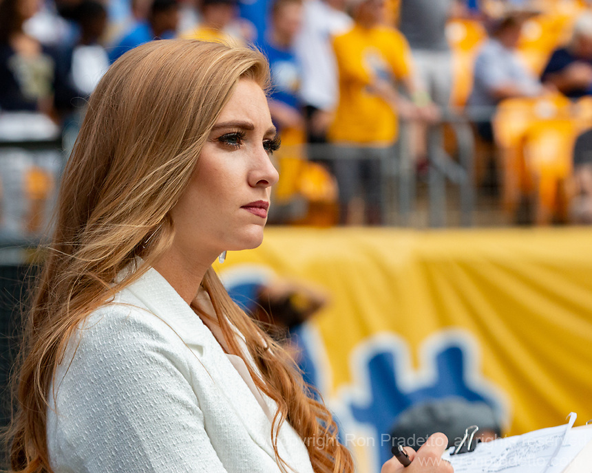 ACC sideline reporter Abby Labar. The Pitt Panthers defeated the New Hampshire Wildcats 77-7 at Heinz Field, Pittsburgh, Pennsylvania on September 25, 2021.