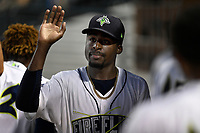 Tony Dibrell (8) of the Columbia Fireflies is congratulated during a game against the Charleston RiverDogs in which he set a Fireflies single-season strikeout record of 138 on Tuesday, August 28, 2018, at Spirit Communications Park in Columbia, South Carolina. Columbia won, 11-2. (Tom Priddy/Four Seam Images)