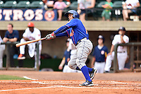 Kingsport Mets catcher Dionis Rodriguez (11) hits a home run during a game against the Greeneville Astros at Pioneer Park on July 3, 2016 in Greeneville, Tennessee. The Mets defeated the Astros 11-0. (Tony Farlow/Four Seam Images)