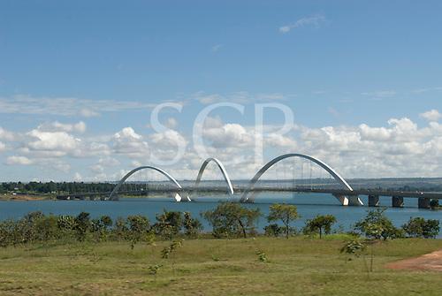 Brasilia, Brazil. The Juscelino Kubitschek Bridge, also known as Ponte JK, Ponte Novo, crossing the Lago Sul.
