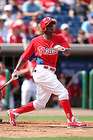 Philadelphia Phillies designated hitter Juan Pierre #10 during a scrimmage against the Florida State Seminoles at Brighthouse Field on February 29, 2012 in Clearwater, Florida.  Philadelphia defeated Florida State 6-1.  (Mike Janes/Four Seam Images)