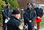 WATERTOWN, CT-123020JS14- Watertown Police Chief John Gavallas looks on as his son Lt. Tim Gavallas opens the ceremonies during a send-off parade and ceremony in his honor Wednesday at the Watertown Police Department. Chief Gavallas has served for 51 years. <br /> Jim Shannon Republican-American