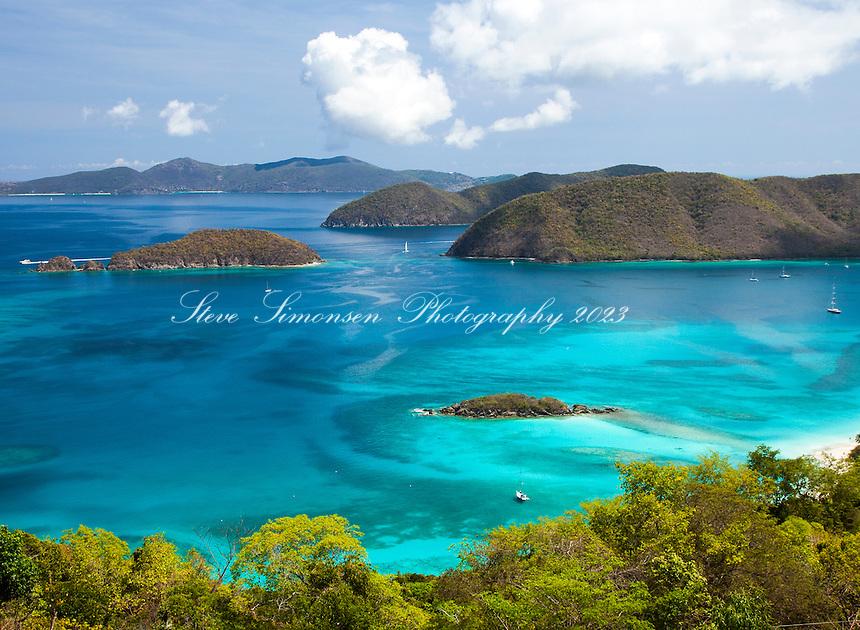 View of Cinnamon Bay looking towards Whistling Cay<br /> Virgin Islands National Park<br /> St. John, U.S. Virgin Islands