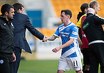 St Johnstone v Partick Thistle…29.10.16..  McDiarmid Park   SPFL<br />Danny Swanson is subbed<br />Picture by Graeme Hart.<br />Copyright Perthshire Picture Agency<br />Tel: 01738 623350  Mobile: 07990 594431