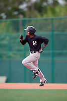 GCL Yankees East left fielder Alexander Santana (31) runs the bases during the first game of a doubleheader against the GCL Pirates on July 31, 2018 at Pirate City Complex in Bradenton, Florida.  GCL Yankees East defeated GCL Pirates 2-0.  (Mike Janes/Four Seam Images)