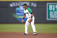 Dayton Dragons second baseman Jeter Downs (2) on defense against the Bowling Green Hot Rods at Fifth Third Field on June 8, 2018 in Dayton, Ohio. The Hot Rods defeated the Dragons 11-4.  (Brian Westerholt/Four Seam Images)