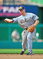 29 May 2011: San Diego Padres infielder Logan Forsythe in action against the Washington Nationals at Nationals Park in Washington, District of Columbia. The Padres defeated the Nationals 5-4 to take the rubber match of their 3-game series. Mandatory Credit: Ed Wolfstein Photo