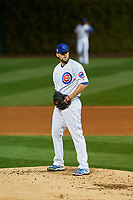 Chicago Cubs pitcher John Lackey (41) gets ready to deliver a pitch in the third inning during Game 4 of the Major League Baseball World Series against the Cleveland Indians on October 29, 2016 at Wrigley Field in Chicago, Illinois.  (Mike Janes/Four Seam Images)
