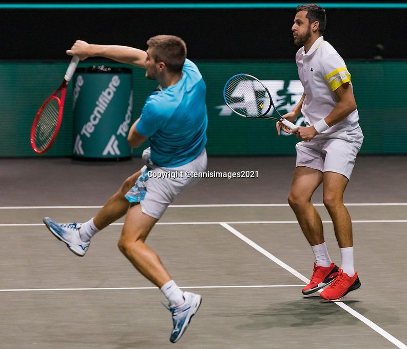 Rotterdam, The Netherlands, 6 march  2021, ABNAMRO World Tennis Tournament, Ahoy,  Semi final doubles: Nikola Mektic (CRO) / Mate Pavic (CRO).<br /> Photo: www.tennisimages.com/henkkoster