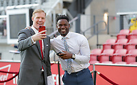 WASHINGTON, D.C. - OCTOBER 11: Alexi Lalas and Maurice Edu clowning around prior to their Nations League game versus Cuba at Audi Field, on October 11, 2019 in Washington D.C.