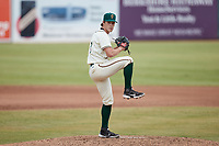 Greensboro Grasshoppers relief pitcher Trey McGough (43) in action against the Rome Braves at First National Bank Field on May 16, 2021 in Greensboro, North Carolina. (Brian Westerholt/Four Seam Images)