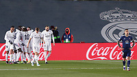 2nd January 2021, Santiago Bernabéu Stadium, Madrid, Spain;  Real Madrids players celebrate their 2nd goal for 2-0 during a Spanish league football match between Real Madrid and Celta Vigo