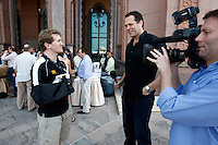Photo: Richard Lane/Richard Lane Photography. London Wasps in Abu Dhabi for their LV= Cup game against Harlequins on 30th January 2011. 30/01/2011. Wasps' Tom Rees is interviewed by Martin Bayfield for the ITV show during the supporters drinks at the Emirates Palace Hotel.