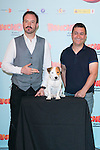 "Spanish actors Alex Odogherty (Left), Secun de la Rosa (Right) and Cook the dog attends thethe photocall of the presentation of the movie ""Pancho El Perro Millonario"" at the NH Palacio de Tepa Hotel in Madrid, Spain. June 3, 2014. (ALTERPHOTOS/Carlos Dafonte)"