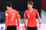 Hwang Uijo of South Korea (R) talks to Son Heungmin of South Korea (L) during the AFC Asian Cup UAE 2019 Quarter Finals match between Qatar (QAT) and South Korea (KOR) at Zayed Sports City Stadium  on 25 January 2019 in Abu Dhabi, United Arab Emirates. Photo by Marcio Rodrigo Machado / Power Sport Images