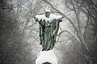 January 3, 2012; Snow covers Sacred Heart Jesus statue in the Main Quad. Photo by Barbara Johnston/University of Notre Dame.