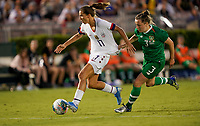 PASADENA, CALIFORNIA - August 03: Tobin Heath #17, Harriet Scott #3 during their international friendly and the USWNT Victory Tour match between Ireland and the United States at the Rose Bowl on August 03, 2019 in Pasadena, CA.
