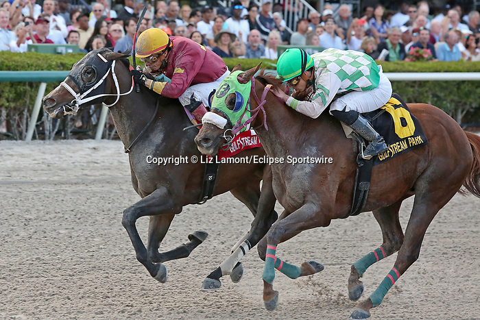 January 18, 2020: #1 Noble Drama with jockey Emisael Jaramillo on board wins the Sunshine Millions Classic Stakes Black Type at Gulfstream Park in Hallandale Beach, Florida, on January 18th, 2020. LizLamont/Eclipse Sportswire/CSM