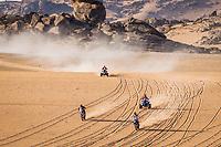4th January 2021; Dakar Rally stage 2;  #76 Krejci Roman (cze), KTM, Bo!Beton TeamOriginal by Motul, Moto, Bike, #50 Santosh Chunchunguppe (ind), Hero, Hero Motorsports Team Rally, Motul, Moto, Bike, #150 Cavigliasso Nicolas (arg), Yamaha, Dragon Rally Team, Motul, Quad, #163 Copetti Pablo (usa), Yamaha, MX Devesa By Berta, Motul, Quad, action during the 2nd stage of the Dakar 2021 between Bisha and Wadi Al Dawasir, in Saudi Arabia on January 4, 2021