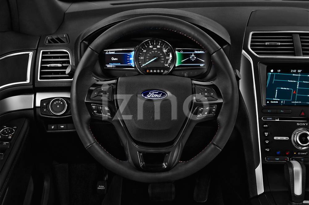 Car pictures of steering wheel view of a 2019 Ford Explorer Sport 5 Door SUV