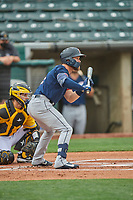 Eric Filia (2) of the Tacoma Rainiers squares to bunt against the Salt Lake Bees at Smith's Ballpark on May 16, 2021 in Salt Lake City, Utah. The Bees defeated the Rainiers 8-7. (Stephen Smith/Four Seam Images)