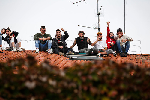 1st November 2020, Imola, Italy; FIA Formula 1 Grand Prix Emilia Romagna, Race Day; Fans watch the race in Imola Italy